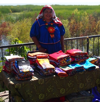 Feria textile artist at lakeside stall
