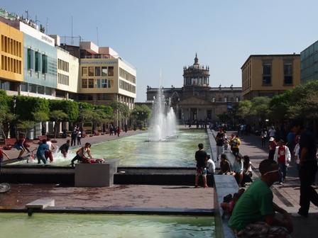 Guadalajara pedestrian zone with Hospicio Cabanas