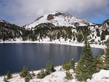 Lassen Peak reflected in alpine lake