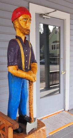 McCloud lumberjack statue