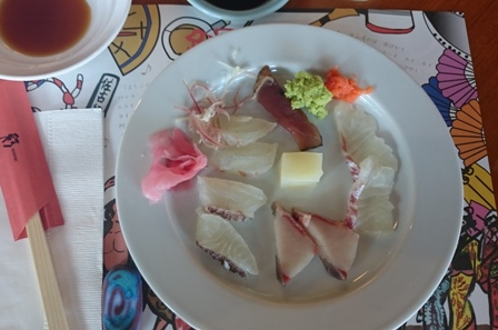 Sashimi at Naruto Renaissance Resort restaurant