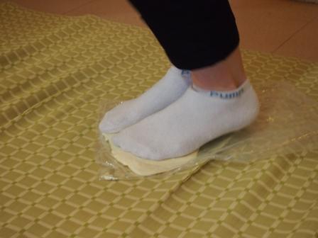 Kneading udon dough