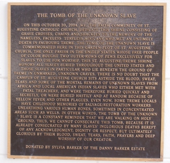 Unknown Slave monument sign
