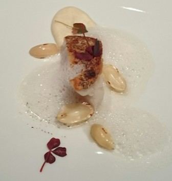 Pan fried local grouper with Kyoto peanuts and vanilla oil