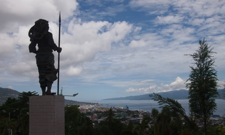 Martha Christina Tiahahu statue overlooking Ambon