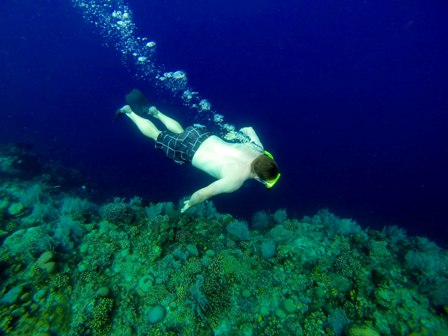 Sam snorkelling at Bunaken photo courtesy of Aga Kozmic Gourmand Guide