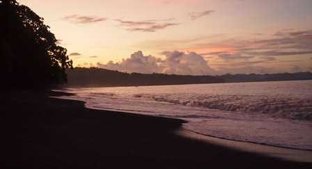 Sunset on Tangkoko's black sand beach