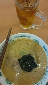 Hidakaya ramen with shoju and tea drink